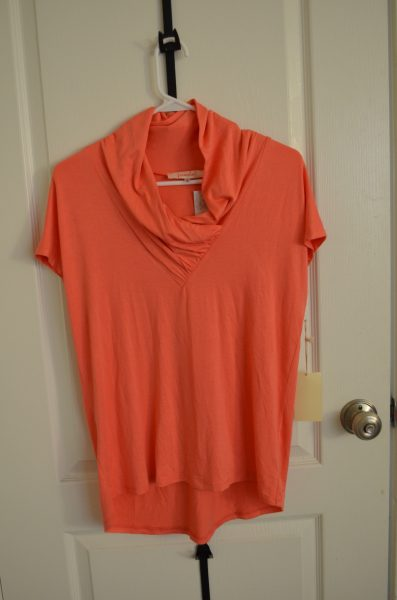Wrenn V-Neck Jersey Top in Coral