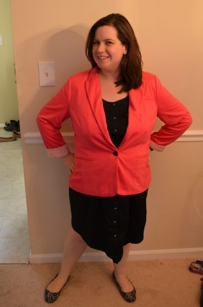 Stylus Knit Blazer, Modern Pink - XL - $68 and Modamix Sleeveless Cinched Waist Dress, Black - 16W - $55