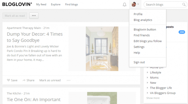 BlogLovin' Edit Blogs You Follow