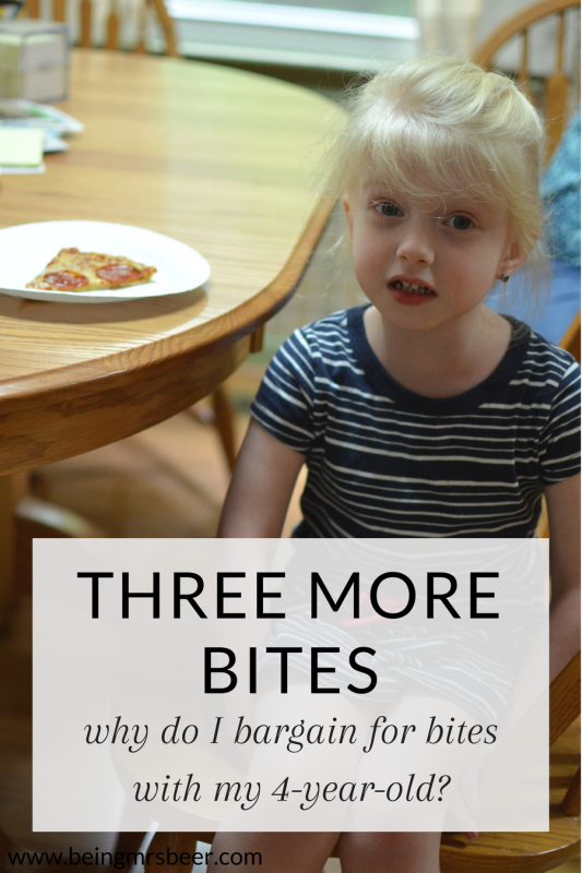 My picky eater is constantly trying my patience... to the point that I'm begging her to just take three more bites. Anyone else? What are your tips for picky eaters?