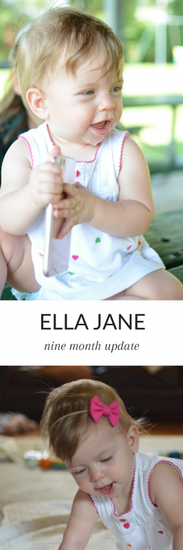 Ella is nine months old! She's the happiest little girl and has learned so much in the past month, including mastering crawling!