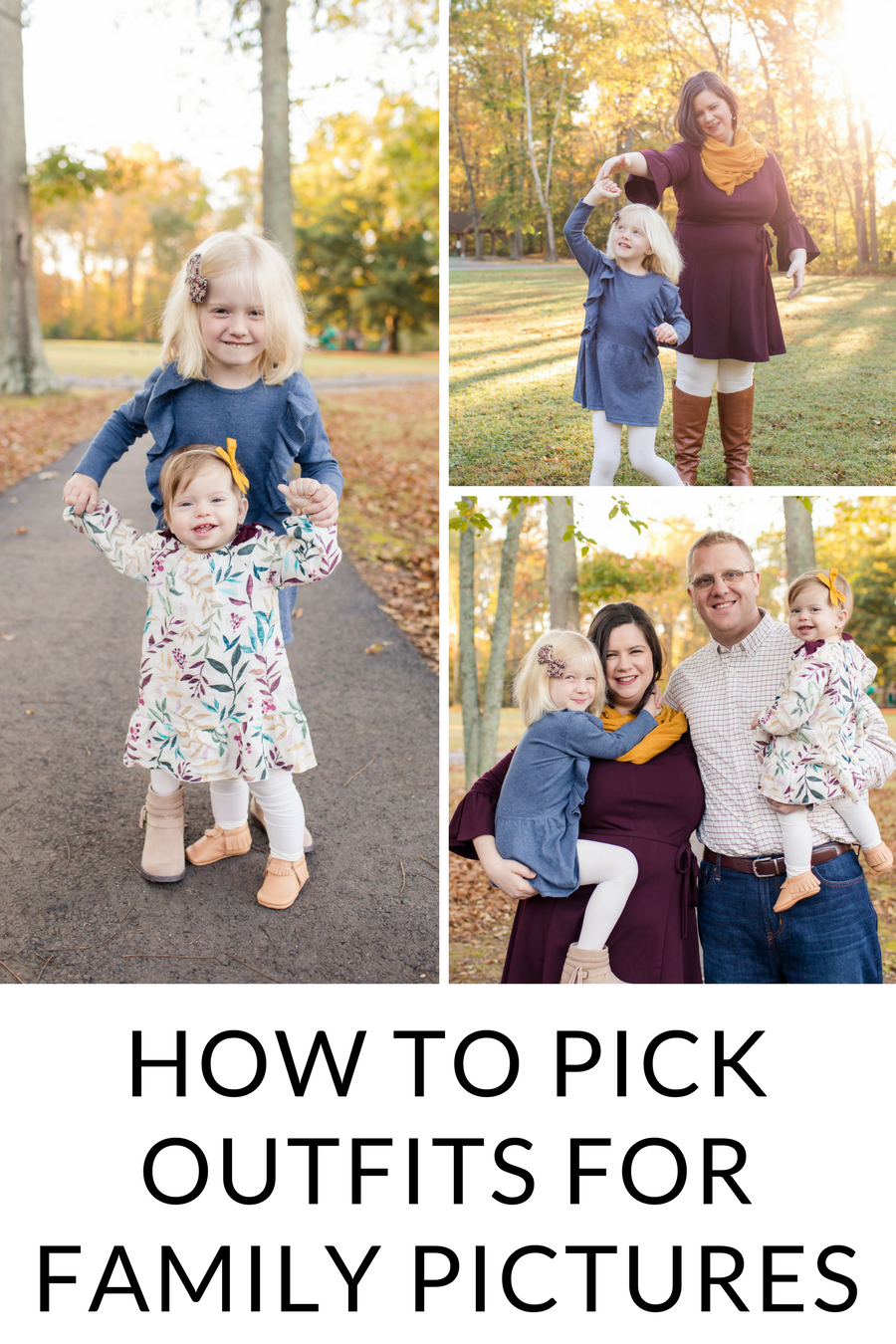 Stumped on how to pick outfits for your annual family pictures? Follow these steps to make it easy and get great, coordinated outfits every time. Your best family pictures ever could happen now! #familypictures #pictures #photography #familyphotos
