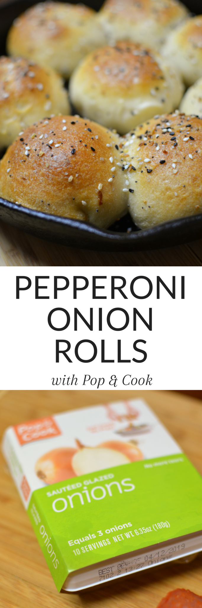 #AD These Pepperoni Onion Rolls are the perfect savory treat! So easy and they come together quickly with a great shortcut - head to the blog for the recipe and video! #rolls #pepperoni #onion #baking