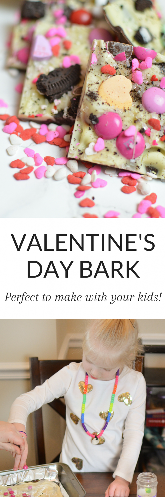 This Valentine's Day Bark is festive, fun, and perfect to make with your kids! So easy to make! #ValentinesDay #Bark #Candy #Valentine